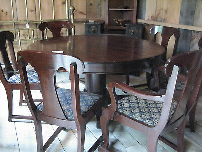 Antique Mahogany Dining Room Table with Eight Chairs