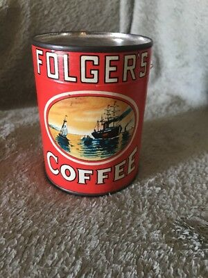 Advertising Vintage Folgers Coffee Puzzle Tin Can Unopened