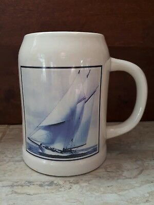 Blue Nose Schooner Beer Mug Stein Porcelain  Decent Condition Ship Boat