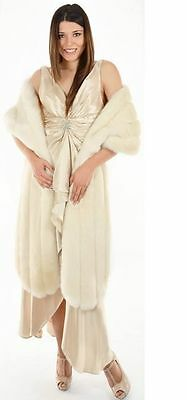 "Ivory Plush Faux Fur Cape Shawl 100"" for Wedding Dresses, Bridal Gowns, Evening"