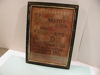 Antique Sampler in Frame Dated 1792 Mary Mosely