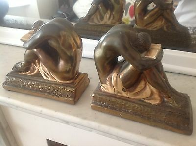 Art Deco Egyptian Men Book Ends Cold Painted French?