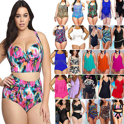Plus Size Women Push Up Bikini Swimwear Swimsuit Swimdress Monokini Bathing Suit