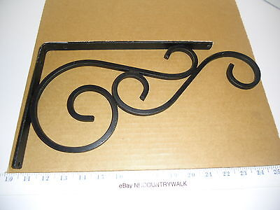 "Hand Made Black Wrought Iron Scroll Shelf Brackets 8 1/4"" x 12"""