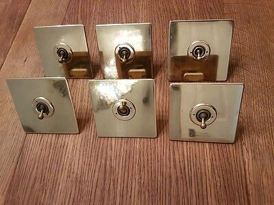 Antique Brass Light Switch Crabtree Art Deco Square Plate  Art Deco Salvaged Old