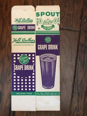 Vintage Cardboard Green Spot Grape Drink Box Hall Brothers