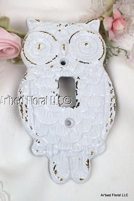 Big Eyed Hoot Owl Cast Iron Single Switch Plate Cover Gloss White