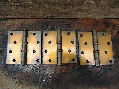 Lot of 3  1922 Antique Stanley Sweetheart Door Hinges Heavy Duty 4 1/2""