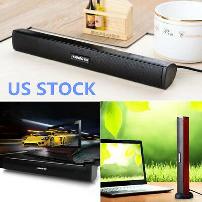 Laptop USB Stereo Speakers Built-in Sound Card Bar For Laptop Desktop Computer