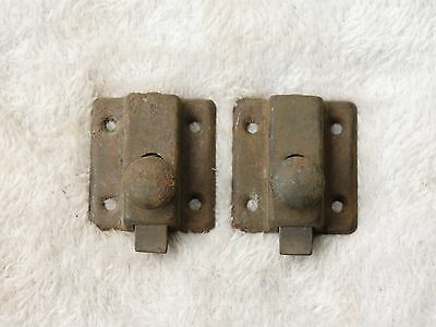Antique Small pair lot 2 HOOSIER Cabinet Cupboard Turn Knob Latch Arts Crafts