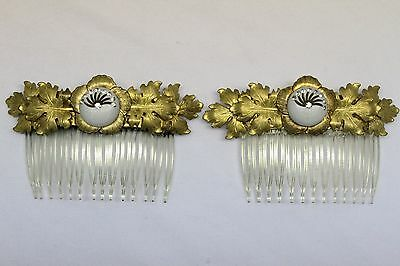 Art deco pair of two gold leaf hair comb nimble fingers