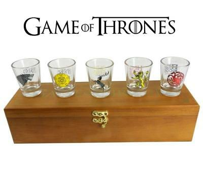 Game of Thrones Set of 5 House Sigil Shot Glasses in Wooden Display Case