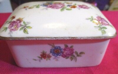 Vintage Lovely Limoges White China Rose Covered Trinket Box with Lid  Gold Trim