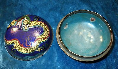 """c.1800's ANTIQUE CHINESE CLOISONNE DRAGON ENAMELED BOWL W/LID APPROX 3 1/2"""" WIDE"""