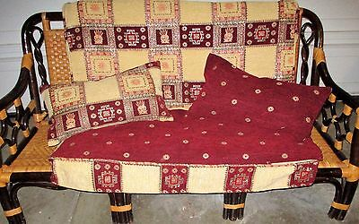 Persian Quilt Large 5 Cushion Covers Slipcover 2 Pillows Tapestry  Red Gold Set!