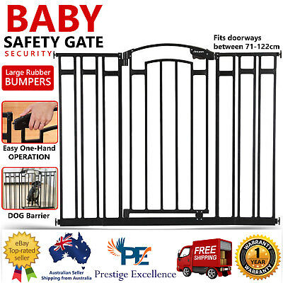 New Baby Pet Dog Child Safety Gate Barrier Security Door Hallway Stairs 71-122cm