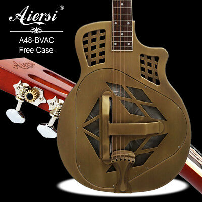Cutway Golden Finish Tricone Acoustic Brass Body Resonator guitar A48-BVAC