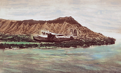 """12x18"""" CLASSIC FLYING BOAT OVER WAIKIKI BEACH 1935 UNMOUNTED COLORED"""