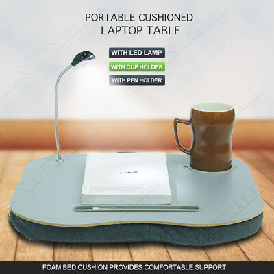 Portable Laptop Lap Desk Table with LED Lamp Light Cup Holder Foam Cushion
