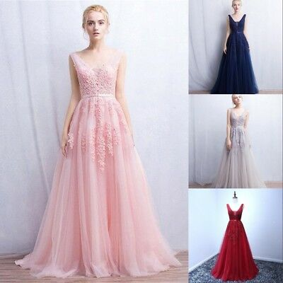 Long Evening Formal Party Dress Prom Ball Gown Bridesmaid Dresses Backless New