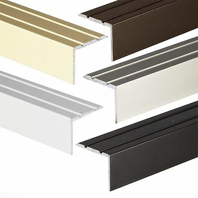 SELFADHESIVE ANODISED ALUMINIUM ANTI NON SLIP STAIR EDGE NOSING TRIM 900x25x20mm