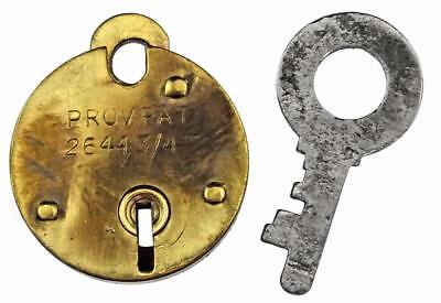 "Vintage 1947 Brass Padlock with Provisional Patent 26443 1⅛"" Small - My Ref P457"