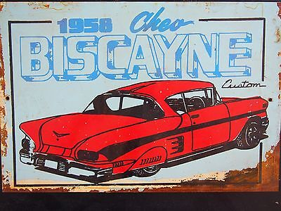 Tin Sign - 1958 Chev (Chevrolet) Biscayne Custom - Rustic Look - 30cm x 20cm