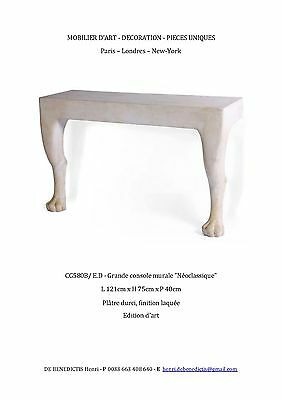 Magnificent Wall Mounted Plaster Neoclassical Console Table / John Dickinson