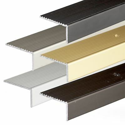 ANODISED ALUMINIUM ANTI NON SLIP STAIR EDGE NOSING TRIM 900mm x 20mm x 40mm A33