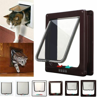4 Way White/Coffee Pet Lockable Flap Door For Small Medium Large Size Dog Cat
