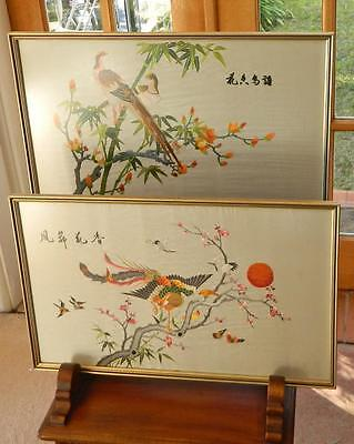VINTAGE Antique 1940s Circa Two Framed Oriental Silk Hand Embroidered Pictures