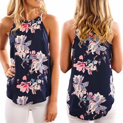 Womens Summer Chiffon Vest Top Sleeveless Blouse Casual Tank Tops Floral T-Shirt