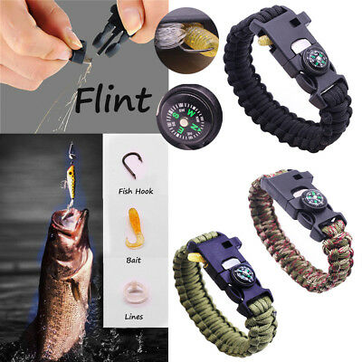 Paracord Survival Bracelet Compass Camping Flint Whistle Fishing Emergency