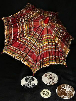 Vintage Shirley Temple Plaid Umbrella & Pin Back Buttons