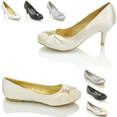 Womens Bridal Wedding Shoes Stiletto Heel Ladies Diamante Satin Flat Pumps Size