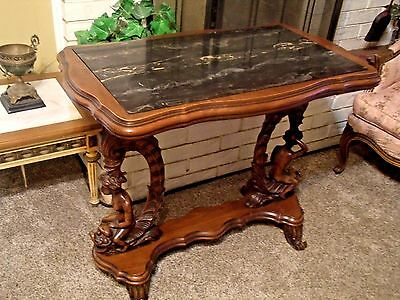 Outstanding Antique Figural Carved Art Deco Marble Top Foyer Entry Side Table 19