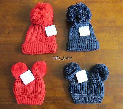 Baby Knitted Pom Pom Hats Bobble Navy Blue Red Boys Girls Winter Wear 0-6 12-24M