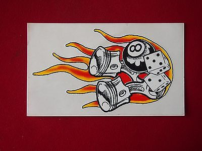 Sticker - Dice, 8Ball & Pistons with Flames - Measures 17cm x 10cm