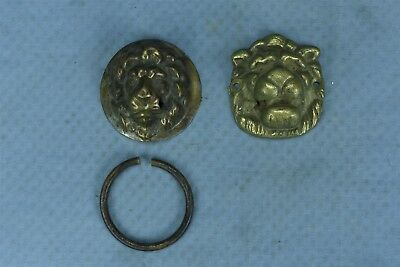 Antique MIXED LOT 2 BRASS LION HEAD DRAWER HANDLE PULL HARDWARE STEAMPUNK #04092