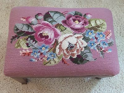 Vintage Needle Point Floral Foot Stool Beautiful