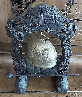 Antique Asian Brass Gong Bell With Hammer On Wood Carved Foo Dog Stand 3
