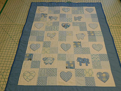 Farm Animal/Hearts Baby Boy Quilt