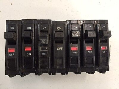 Lot of 7 Square D QO120 QO 1 Pole 20 Amp 120/240 Volt Circuit Breaker