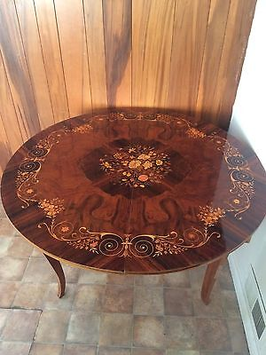 Notturno Intarsio Italian Inlaid Wood Round Multi Game Table w 4 Matching Chairs