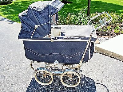 Vintage Rex Stroll-O-Chair Baby Stroller Carriage with Chrome Fenders