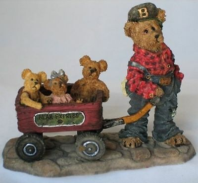 Huck with Mandy, Zoe and Zack Rollin' Along Boyds Bear Bearstone Collection