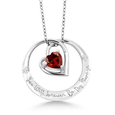"925 Sterling Silver ""You Will Forever Be My Always"" Garnet and Diamond Pendant"