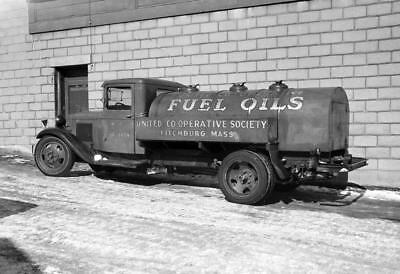 "1936 United Co-op Fuel Truck, Fitchburg, MA Vintage Photograph 13"" x 19"" Reprint"