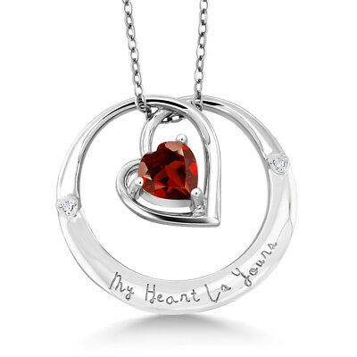 "925 Sterling Silver ""My Heart Is Yours"" Garnet Diamond Accent Pendant"