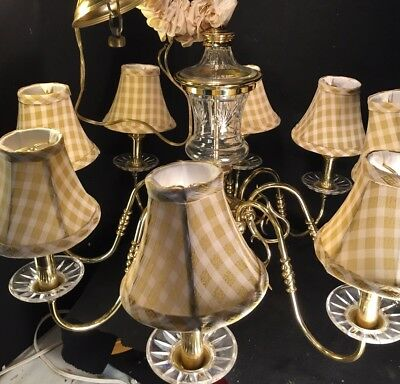 Traditional Brass & Pressed Glass Eight Arm Chandelier w/ Checkered Shades